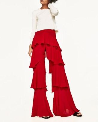 pantalón volantes rojo